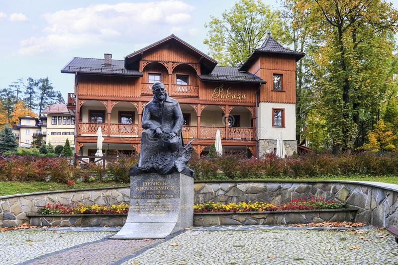 Centro de cidade histórico de Szczawnica, XIX architec de madeira do século foto de stock royalty free
