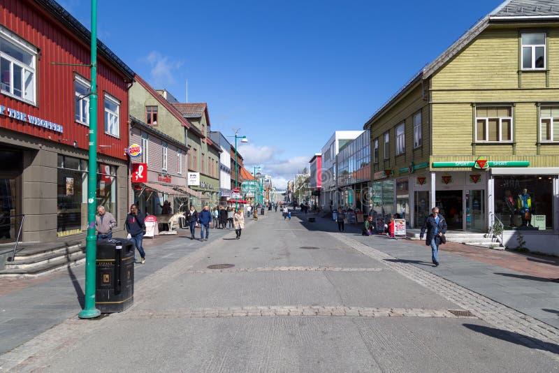 Centro de cidade de Tromso fotografia de stock