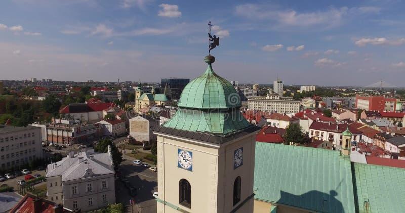Centro de ciudad aéreo de Rzeszow en la ciudad Ratush central de Polonia el 26 de agosto de 2015 fotos de archivo libres de regalías