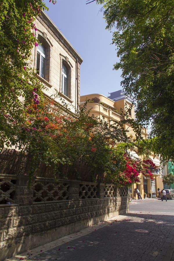Centro de ciudad Aviv-histórico de Mediterranian House.Tel de la Viejo-moda imagen de archivo libre de regalías