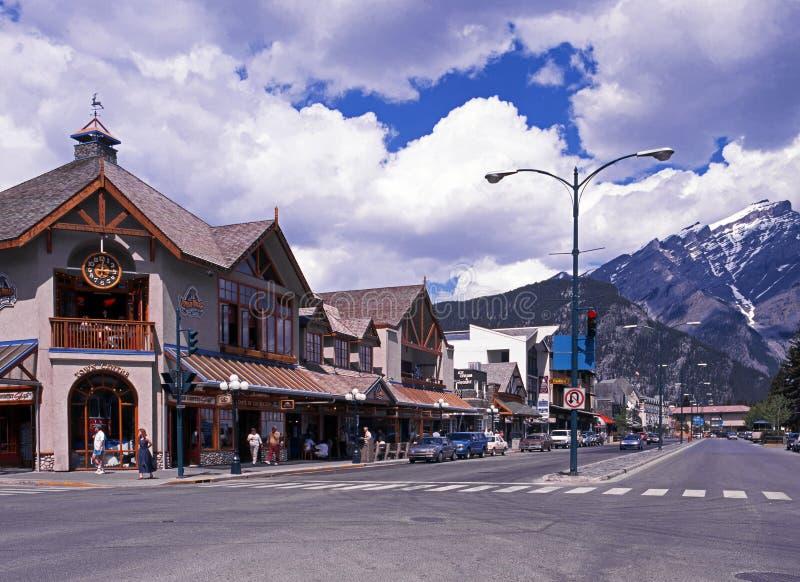 Centro de ciudad de Banff, Canadá foto de archivo libre de regalías