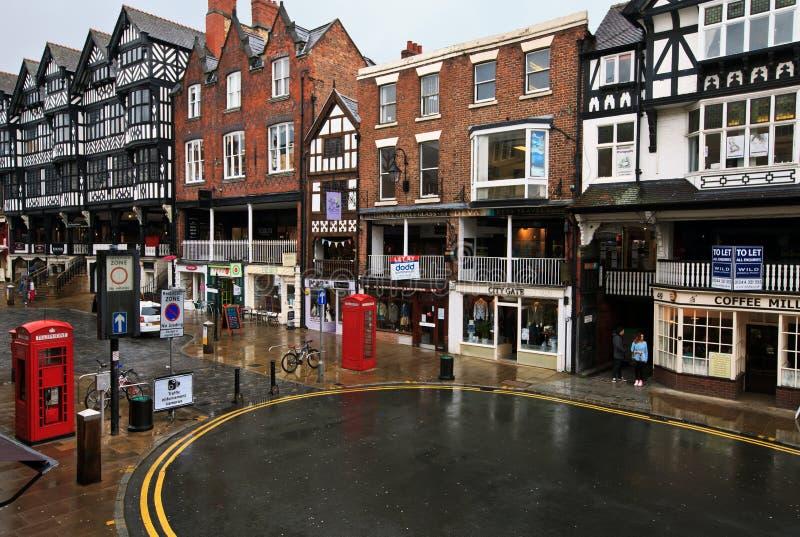 Centro de ciudad de Chester fotos de archivo