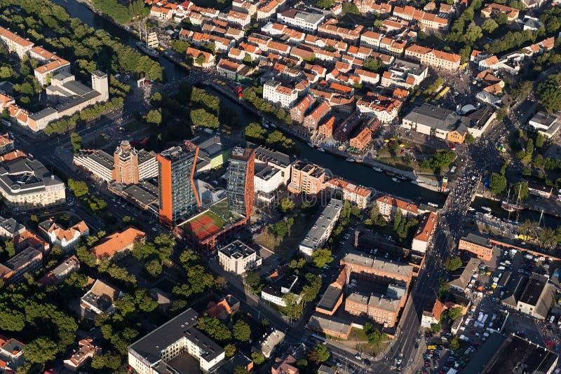 Centro de ciudad de Klaipeda de arriba foto de archivo libre de regalías