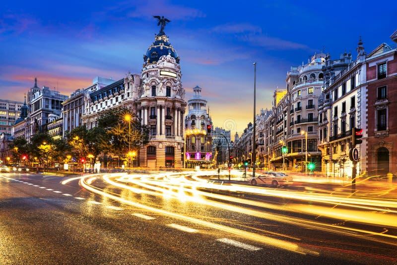 Centro de ciudad de Madrid, Gran Vis Spain imagenes de archivo