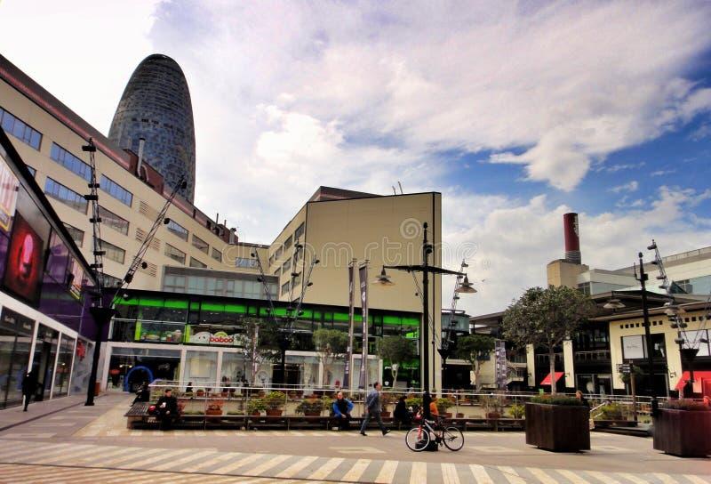 Centro de compra diagonal em Barcelona, Espanha fotos de stock