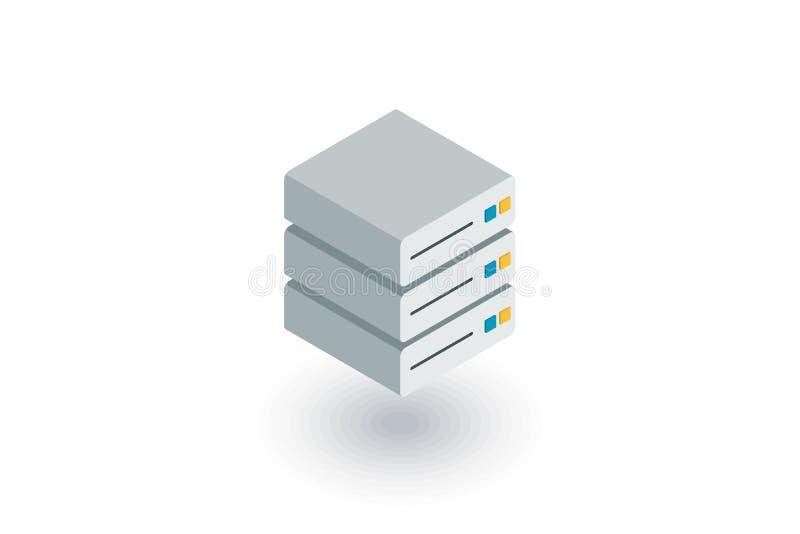 Centro de dados, ícone liso isométrico do servidor vetor 3d ilustração royalty free