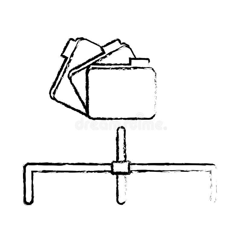 centro de dados arquivado compartilhado dos dobradores relativo ilustração do vetor