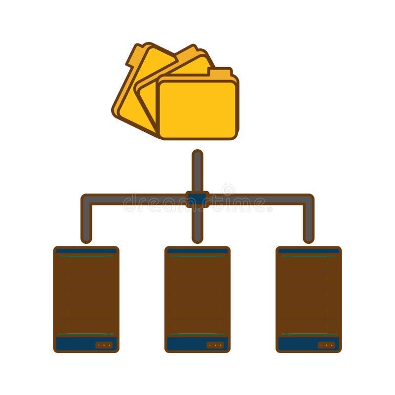 centro de dados arquivado compartilhado dos dobradores relativo ilustração royalty free