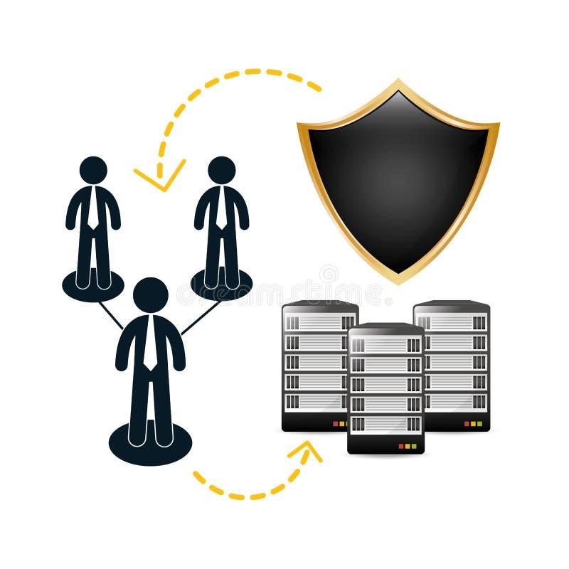 centro de dados arquivado compartilhado dos dobradores relativo ilustração stock