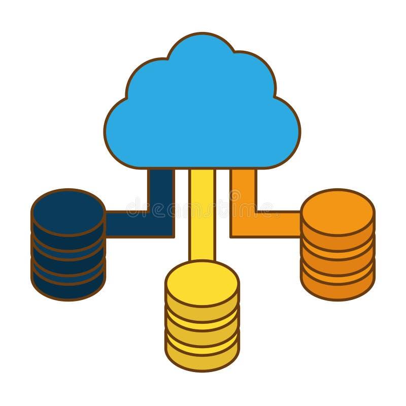 Centro de dados azul do acolhimento da nuvem ilustração stock