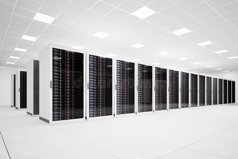 Centro de dados com a fileira longa angular