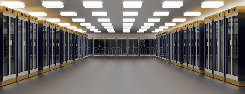Centro de dados da sala do servidor Conjunto do hardware de Datacenter Alternativo, hospedando, unidade central, cremalheira da e ilustração stock