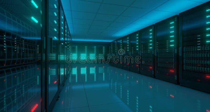 Centro de dados escuro grande do servidor da alta tecnologia com assoalho reflexivo Arti ilustração do vetor