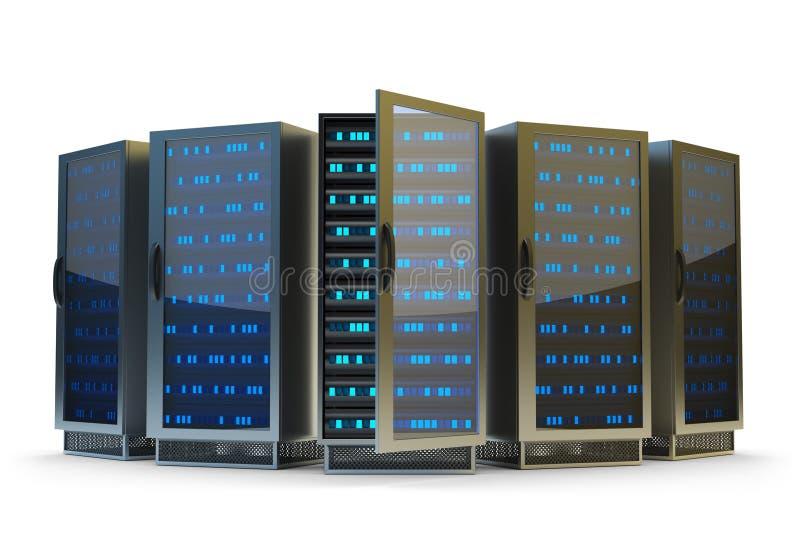 Centro de dados, servidor de rede e Internet hospedando o conceito ilustração royalty free