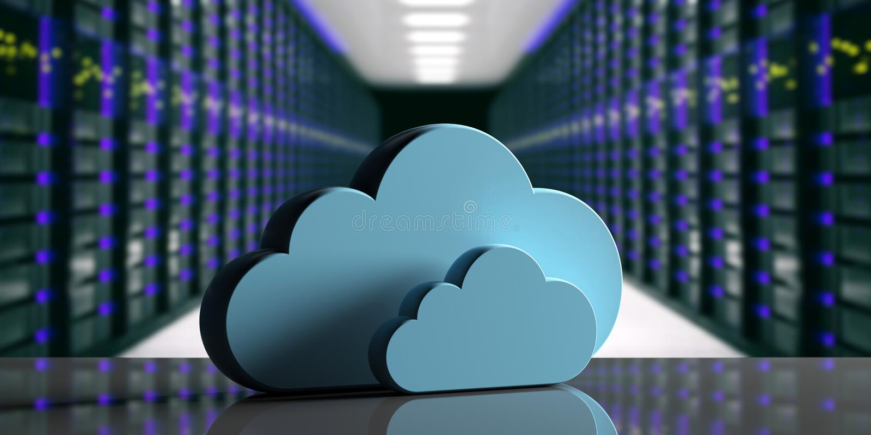 Centro de datos computacional de la nube Nube del almacenamiento en fondo del centro de datos del ordenador ilustración 3D ilustración del vector