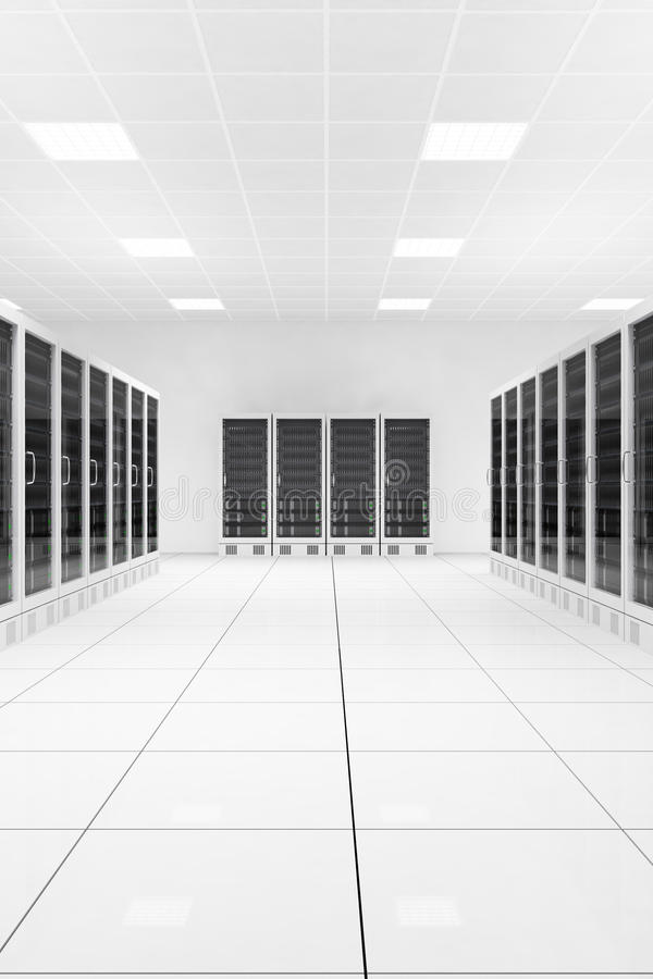 Centro de datos con dos filas ilustración del vector