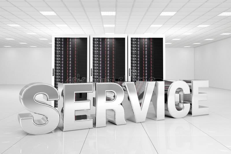 Centro de datos con servicio del cromo ilustración del vector