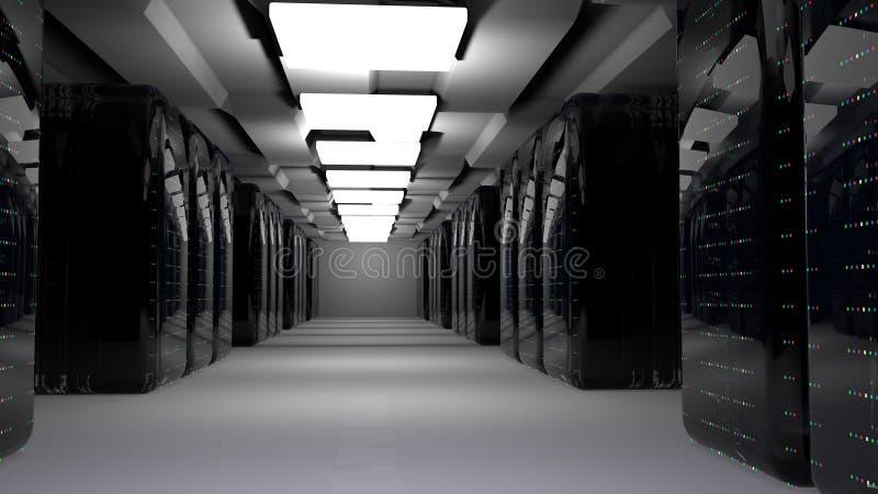 Centro de datos del sitio del servidor 3d rinden stock de ilustración