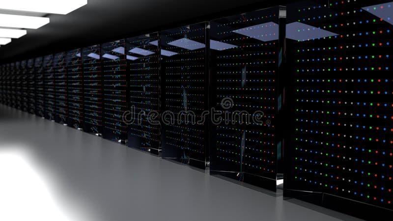 Centro de datos del sitio del servidor 3d rinden ilustración del vector