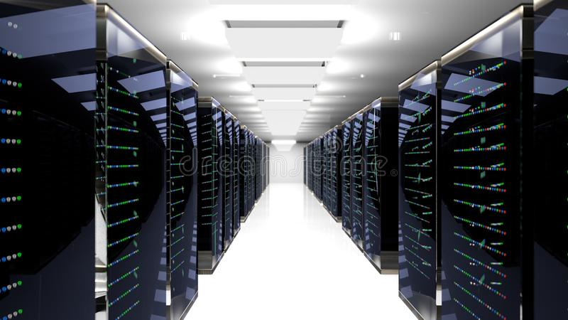 Centro de datos del sitio del servidor representación 3d ilustración del vector