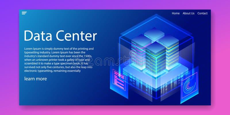 Centro de datos isométrico y empresa que reciben concepto de las soluciones Dise?o de la plantilla de la web Ilustraci?n del vect fotografía de archivo
