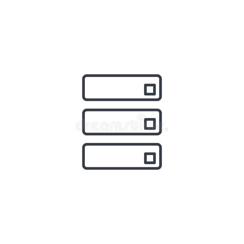 Centro de datos, línea fina icono del servidor Símbolo linear del vector ilustración del vector
