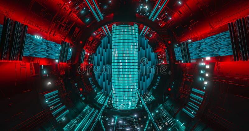 Centro de datos potente computadora cuántica futurista estación de computación de ciencia ficción corredor espacial de ciencia ilustración del vector