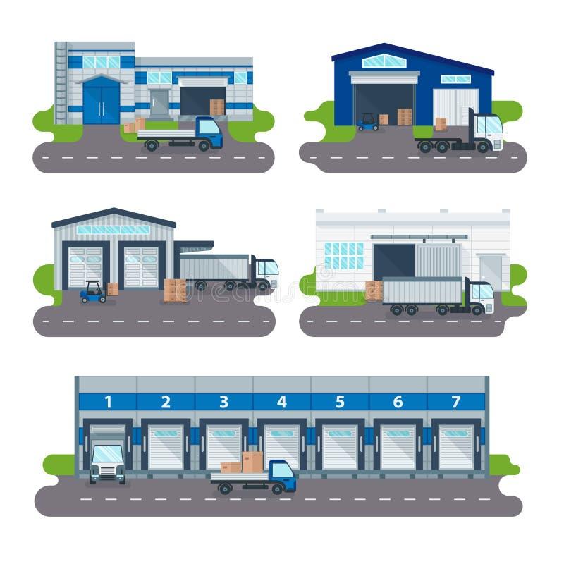 Centro de entrega del almacén de la colección de la logística, camiones cargados, vector de los trabajadores de las carretillas e stock de ilustración