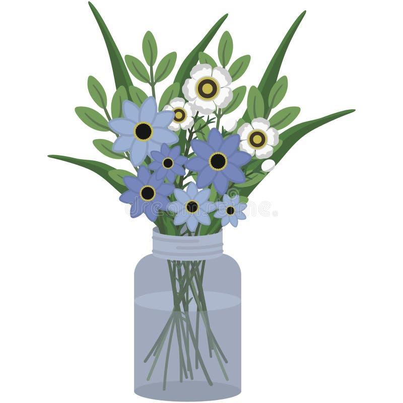 Centro de flores azul y blanca en Mason Jar stock de ilustración