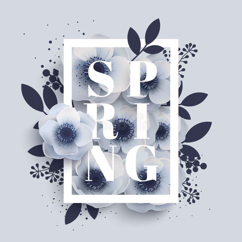 Centro de flores con la primavera de la palabra libre illustration