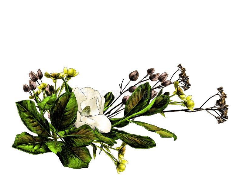 Centro de flores de las ramas de la magnolia y de la hierba seca ilustración del vector