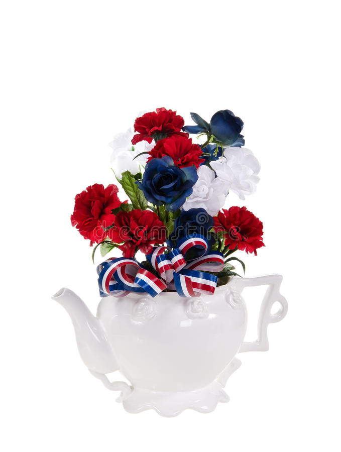 Centro de flores patriótico foto de archivo libre de regalías