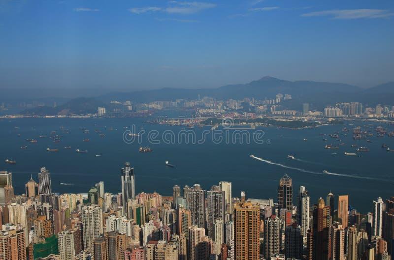 Centro de Hong Kong, vista de Victoria Peak fotos de stock royalty free