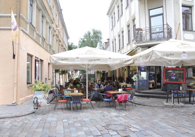 Centro de Kaunas agosto 21,2014-Historic de Kaunas em Lituânia imagens de stock royalty free