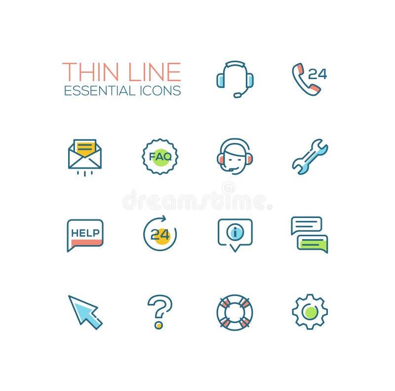 Centro de la ayuda - sola línea fina iconos fijados stock de ilustración