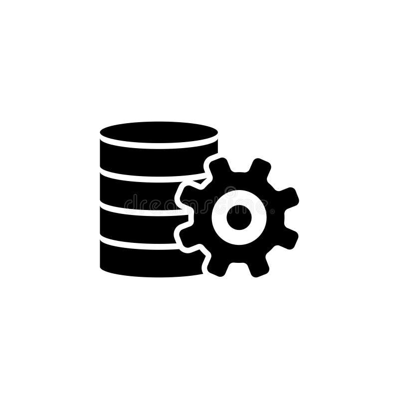 Centro de la base de datos, icono plano del vector de los ajustes del servidor de datos stock de ilustración