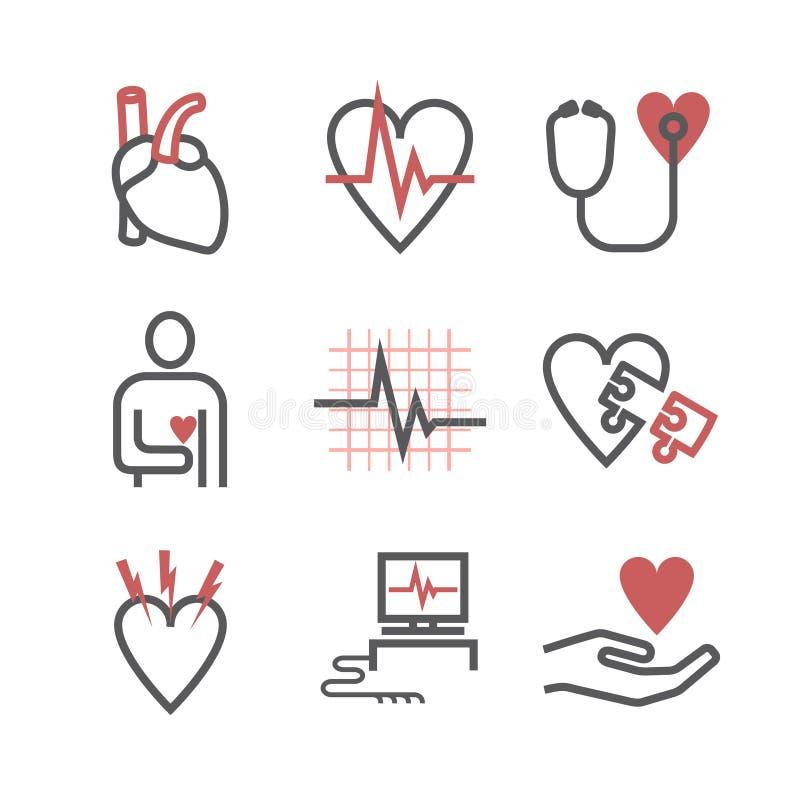 Centro de la cardiología, iconos de la clínica Muestras del corazón Ilustración del vector ilustración del vector