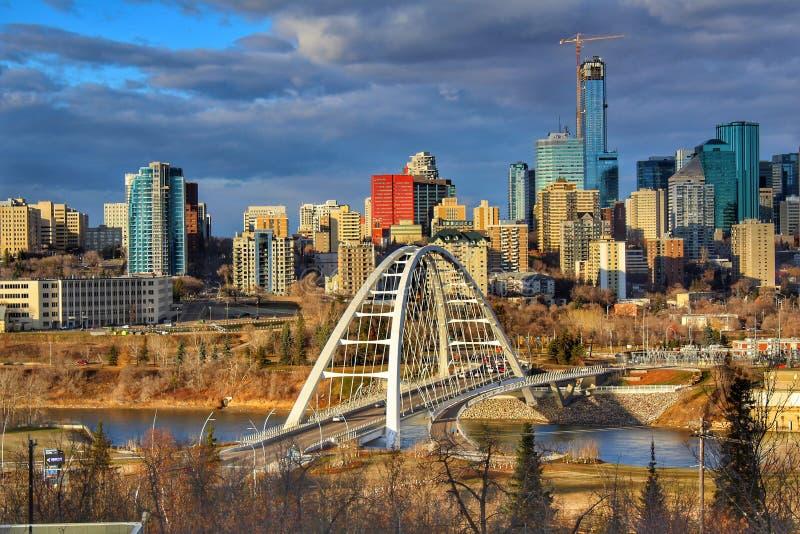 Centro de la ciudad cambiante Edmonton foto de archivo libre de regalías