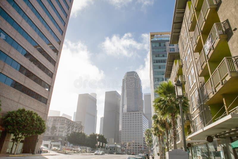 Centro de la ciudad de Los Ángeles, California los E.E.U.U. en soleado imágenes de archivo libres de regalías