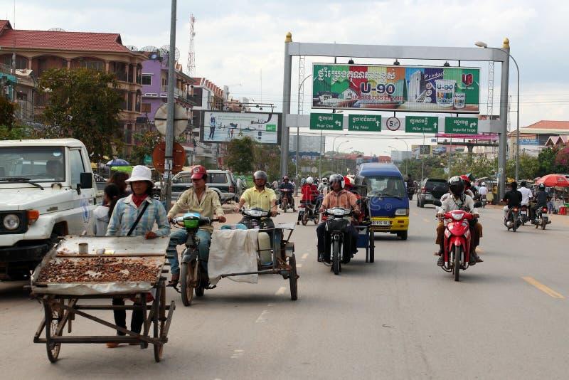 Centro de la ciudad de Siem Reap, Camboya foto de archivo