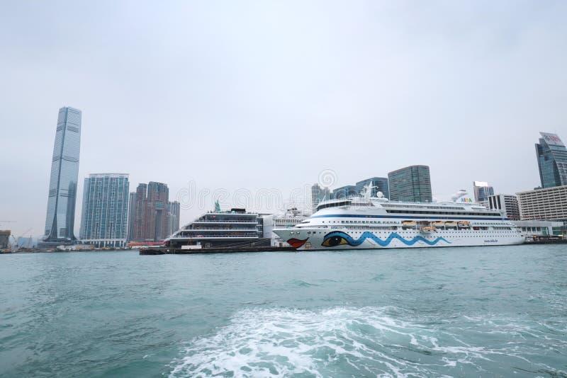 Centro de la ciudad del paisaje urbano del horizonte de Victoria Harbour HK fotos de archivo