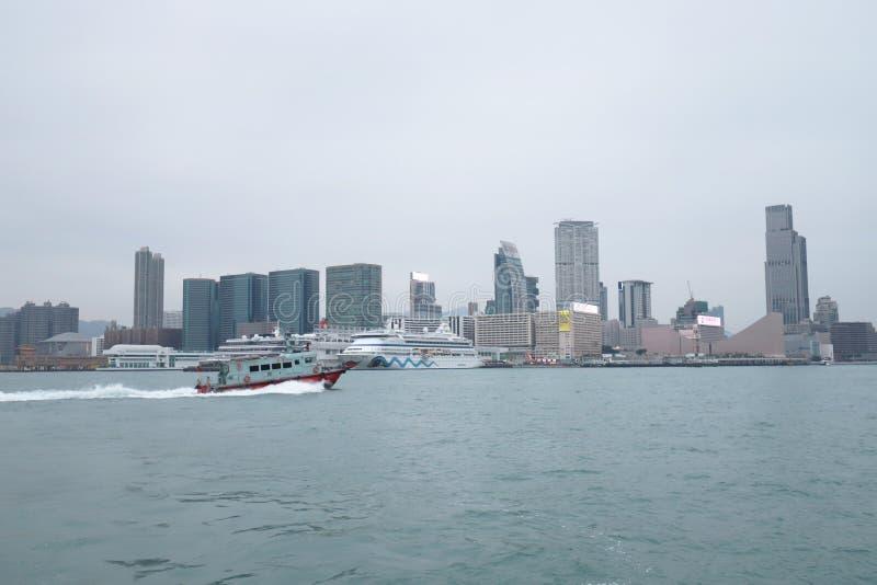 Centro de la ciudad del paisaje urbano del horizonte de Victoria Harbour HK foto de archivo