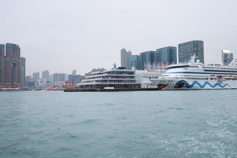 Centro de la ciudad del paisaje urbano del horizonte de Victoria Harbour HK fotografía de archivo