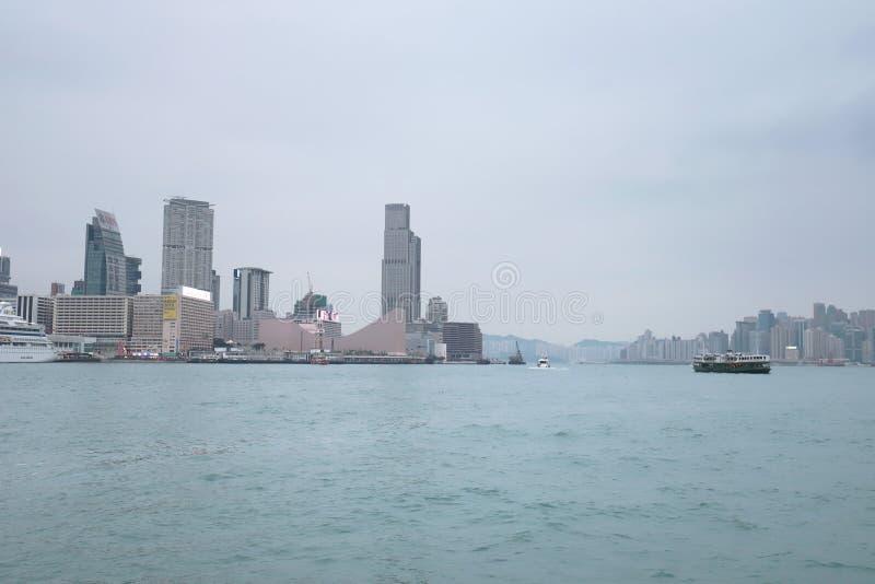 Centro de la ciudad del paisaje urbano del horizonte de Victoria Harbour HK foto de archivo libre de regalías