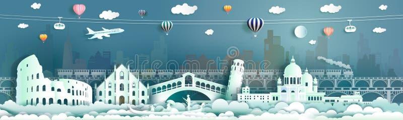 Centro de la ciudad famoso de Europa de las señales de Italia del viaje en góndola, globo, tren libre illustration