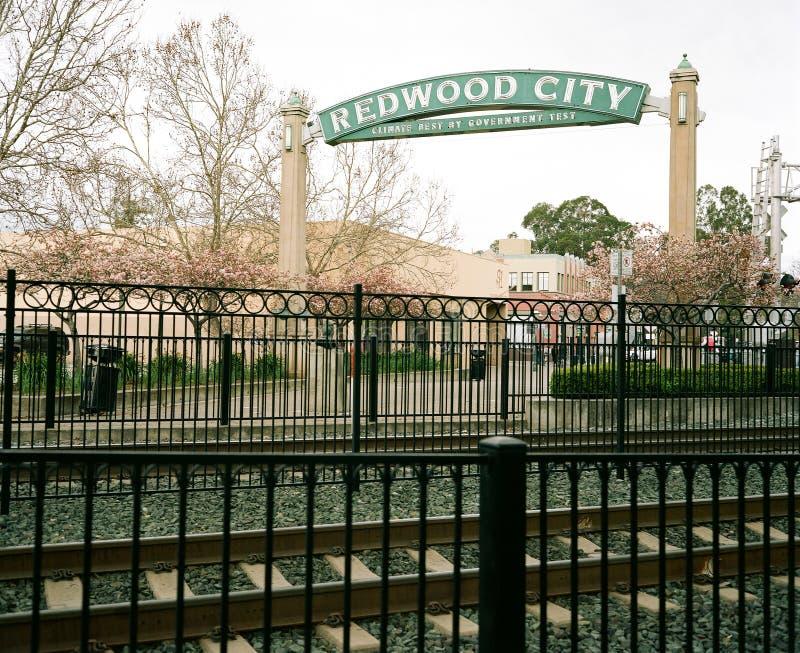 Centro de la ciudad de Redwood City foto de archivo libre de regalías