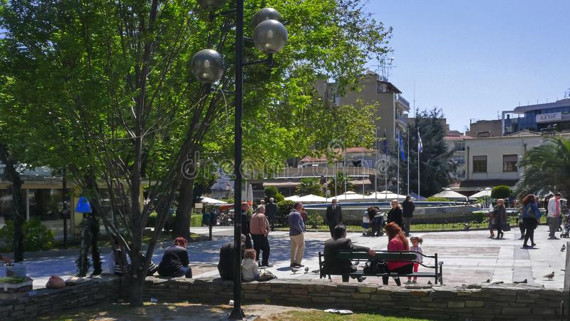 Centro de la ciudad de Serres, Macedonia central, Grecia imagen de archivo