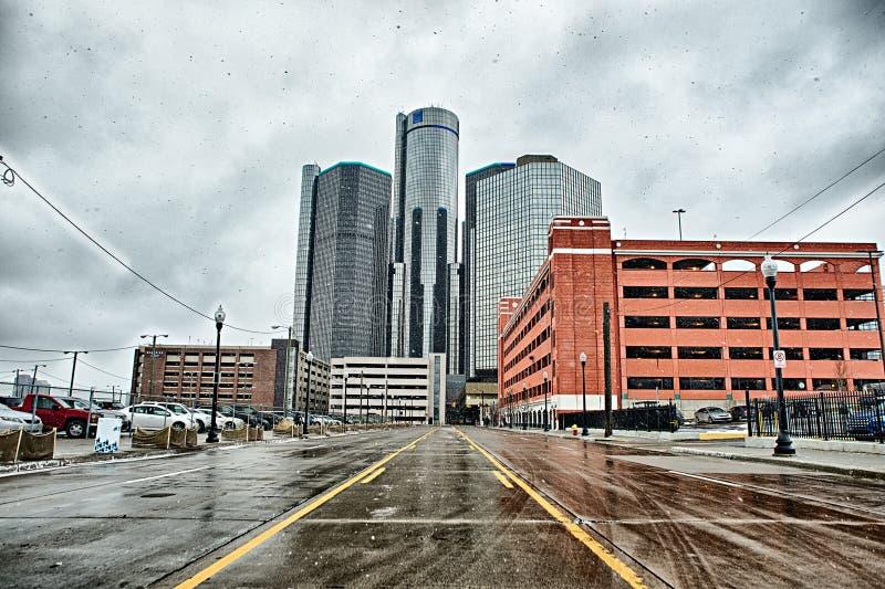 Centro de la ciudad y alrededores de la ciudad de Detroit en invierno foto de archivo