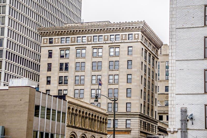 Centro de la ciudad y alrededores de la ciudad de Detroit en invierno fotos de archivo libres de regalías