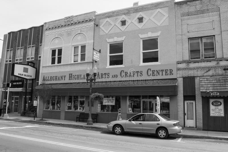 Centro de los artes y de los artes de las montañas de Alleghany, Clifton Forge, VA foto de archivo